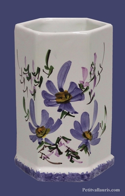 HEXAGONAL SHEATH BLUE FLOWERS DECORATION
