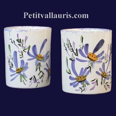 POT MAKEUP PENCILS BLUE FLOWERS PAINTING