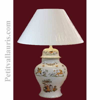 FAIENCE LAMP CHINESE MODEL MOUSTIERS TRADITION DECORATION