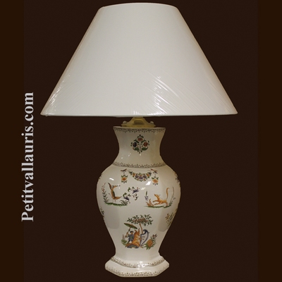 FAIENCE LAMP HEXAGONAL MODEL MOUSTIERS TRADITION DECORATION