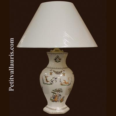 LAMPE FAIENCE HEXAGONALE DECOR TRADITION VIEUX MOUSTIER POLY
