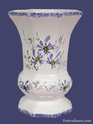 CERAMIC VASE MEDICIS MODEL MEDIUM SIZE BLUE COLOR FLOWERS