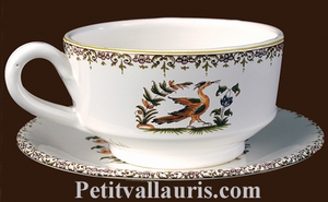 LARGE CUP WITH UNDER PLATE OLD MOUSTIERS DECOR