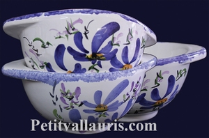 BOWL WITH HANDLES BLUE FLOWERS DECORATION