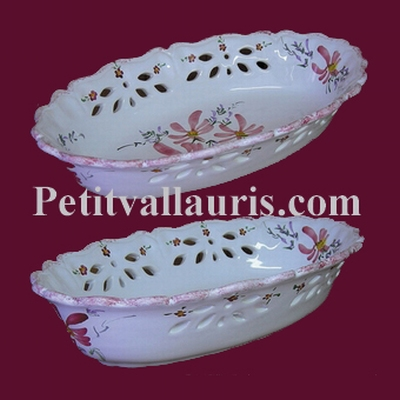 BROAD OR FRUITS PERFORATE CERAMIC BASKET PINK FLOWERS DECOR