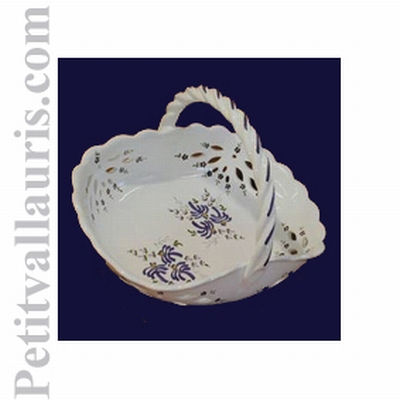 CERAMIC BASKET BLUE FLOWERS DECORATION DIAMETER 30 CM