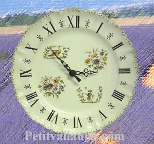 FAIENCE STYLE WALL CLOCK MOUSTIERS POLYCHROME DECORATING RN
