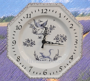FAIENCE OCTAGONAL WALL CLOCK BLUE MOUSTIERS DECORATION TRAD.