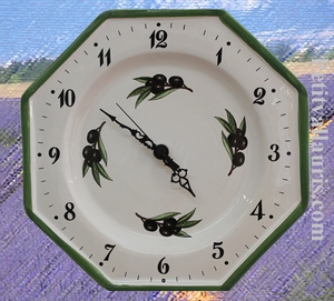 CERAMIC WALL CLOCK BLACK OLIVES AND YELLOW PROVENCAL COLOR