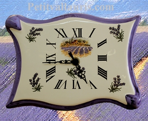 FAIENCE WALL CLOCK PARCHMENT MODEL PROVENCE LAVANDE LANDCAPE