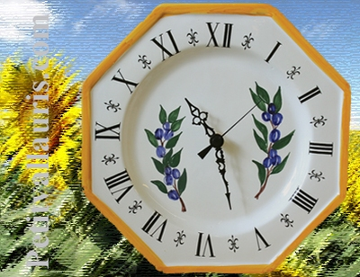 FAIENCE OCTAGONAL WALL CLOCK PROVENCE DECORATION BLUE OLIVES