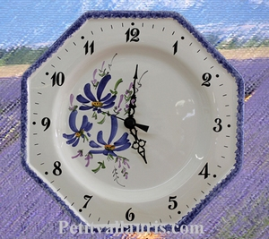 FAIENCE WALL CLOCK OCTAGONAL BLUE FLOWERS DECORATION