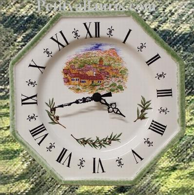FAIENCE OCTAGONAL WALL CLOCK LANDSCAPE