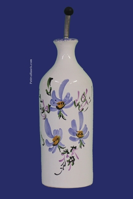 CERAMIC OILCAN BOTTLE MODEL BLUE FLOWERS DECOR