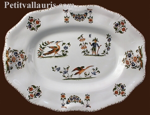OVAL DISH STYLE LOUIS XV MODEL OLD MOUSTIERS DECORATION