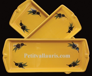 FAIENCE CAKE DISH PROVENCAL COLOR AND BLACK OLIVES