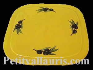SQUARE BELOW DISH PROVENCAL COLOR WITH BLACK OLIVES DECOR