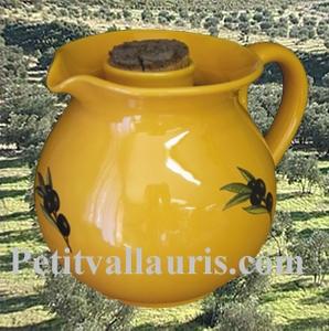 CERAMIC JUG A WINE PINK IN PROVENCOL COLOR & BLACK OLIVES