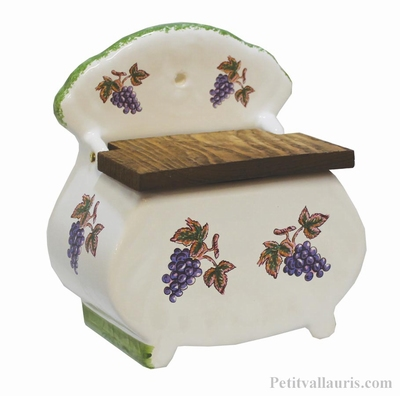 BOITE A SEL EN FAIENCE DECOR GRAPPE DE RAISIN