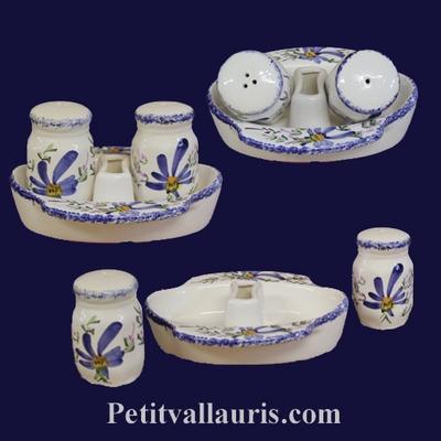SALTCELLER , PEPPER POT AND SUPPORT BLUE FLOWERS DECOR