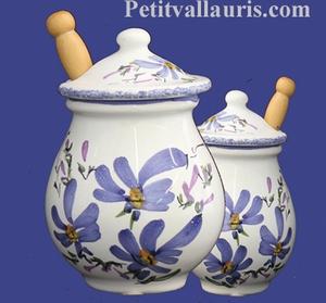 MUSTARD POT JAR MODEL BLUE FLOWERS DECORATION