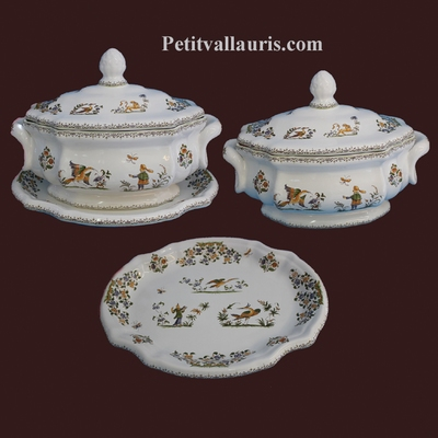 OCTAGONAL SOUP TUREEN WITH DISH OLD MOUSTIER DECOR
