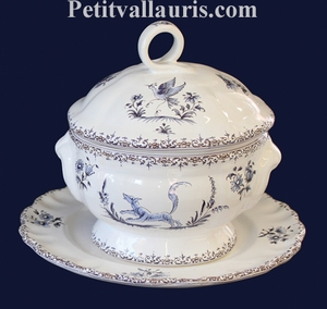 SMALL SIZE SOUP TUREEN WITH HIS PLATE BLUE DECOR