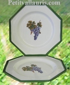 OCTAGONAL MODEL PLATE GRAPE CLUSTER DECORATION (UNIT PRICE)