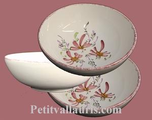 SOUP OR SALAD PLATE PINK FLOWER PAINT DECORATION