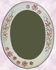 OVAL MIRROR PINK FLOWERS DECOR AND RELIEF MARGUERITE