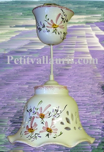 CERAMIC SUSPENSION LACE BELL MODEL PINK FLOWERS DECOR