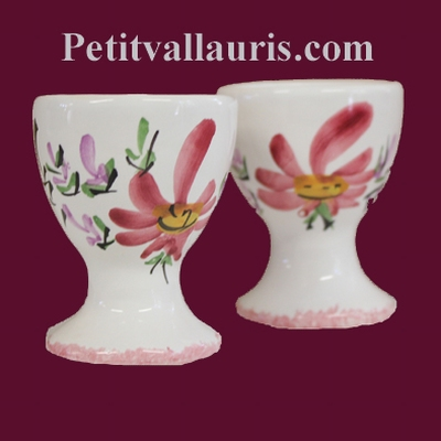 INDIVIDUAL EGG CUP PINK FLOWERS DECOR