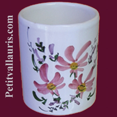 POT MAKEUP PENCILS ROSE FLOWER PAINTING