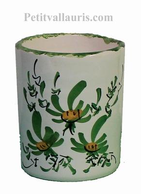 POT MAKEUP PENCILS GREEN FLOWERS PAINTING