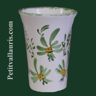 GLASS GREEN FLOWERS DECORATION