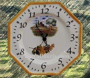 FAIENCE OCTAGONAL WALL CLOCK DECORATION POPPYS