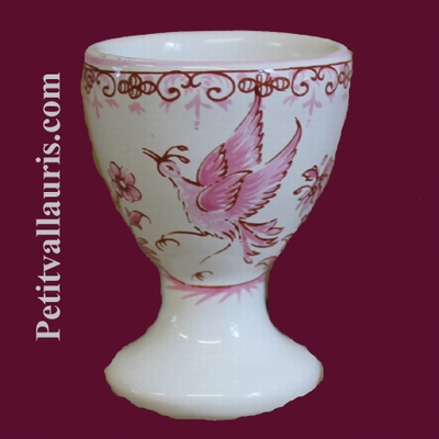 EGG CUP OLD MOUSTIERS PINK TRADITION DECOR