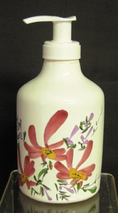 LIQUID SOAP DISPENSER PINK FLOWER DECORATION