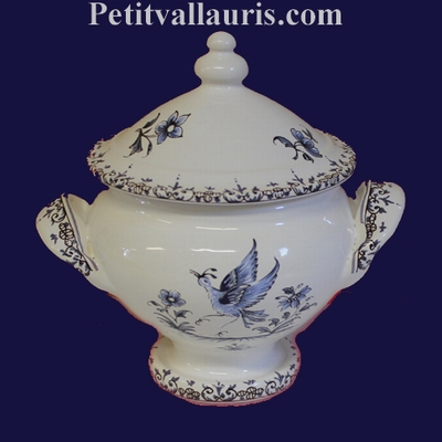 MINIATURE SOUP TUREEN BLUE OLD MOUSTIERS DECOR TRADITION