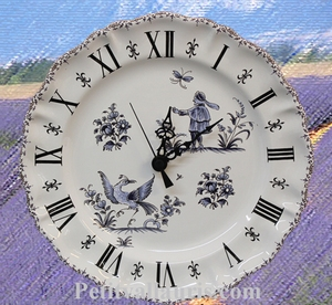 FAIENCE STYLE WALL CLOCK BLUE OLD MOUSTIERS DECORATION