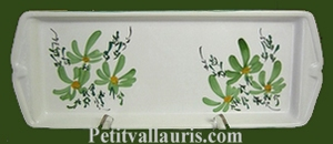 CAKE DISH GREEN FLOWERS DECORATION