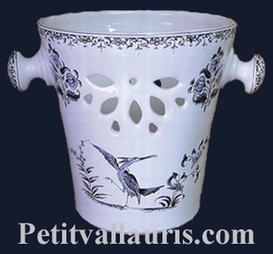 ICE BUCKET BLUE OLD MOUSTIERS TRADITION DECORATION