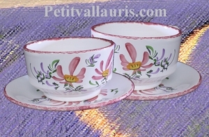 LARGE CUP WITH UNDER PLATE PINK FLOWER DECORATION