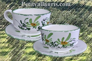 LARGE CUP WITH UNDER PLATE GREEN FLOWER DECORATION