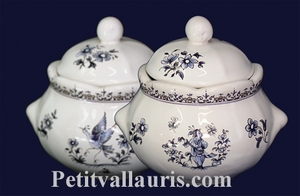 SUGAR BOWL STYLE MODEL BLUE OLD MOUSTIERS DECORATION