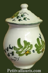 MUSTARD POT JAR MODEL GREEN FLOWERS DECORATION