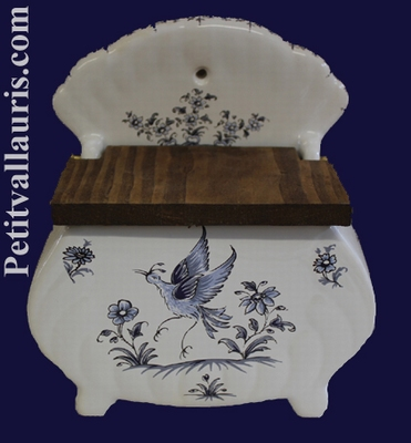 SALT BOX OLD MOUSTIERS BLUE TRADITION DECORATION