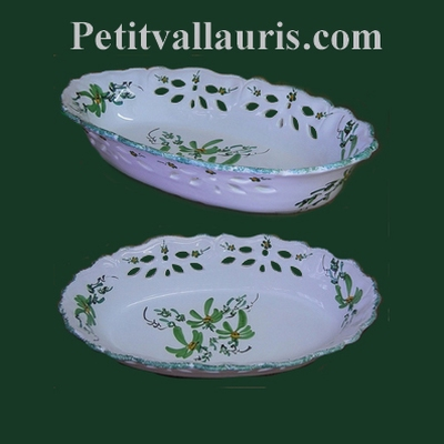 FAIENCE OVALE PERFORATE BASKET GREEN COLOR FLOWER