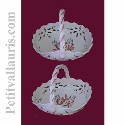 CERAMIC BASKET PINK FLOWERS DECORATION DIAMETER 26 CM