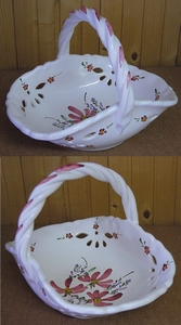 CERAMIC BASKET PINK FLOWERS DECOR